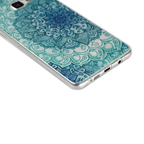 Galaxy A7 (2016) Hülle, SainCat Silikon Hülle Tasche Handyhülle [Kratzfeste, Scratch-Resistant] TPU Gel Bumper Case Weiches Transparentes Silikon Schutzhülle Crystal Kirstall Clear Case Durchsichtig M Nationale blauen Blüten