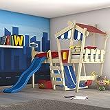 WICKEY Kinderbett mit Rutsche CrAzY Hutty Hochbett mit Dach Abenteuerbett mit Lattenboden, blau-rot + blaue Rutsche