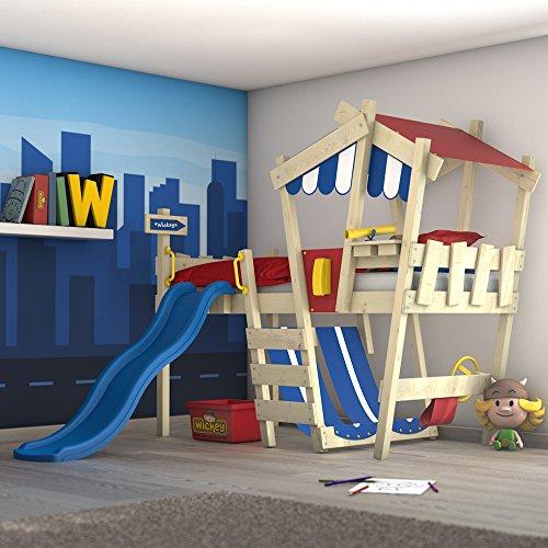 WICKEY Kinderbett mit Rutsche CrAzY Hutty Hochbett mit Dach Abenteuerbett mit Lattenboden, blau-rot + blaue Rutsche (Kinder Hochbett Rutsche)