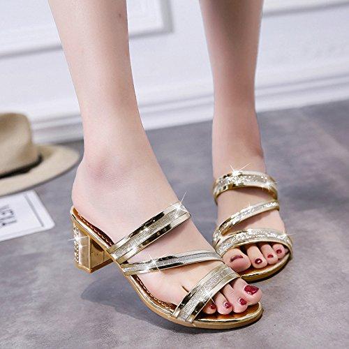 ZYUSHIZ Weibliche Sandalen fetter Text mit synthetischen coole Hausschuhe Open Toe High-Heel 37EU