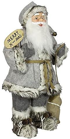 Weihnachtsmann Santa Nikolaus Vincent mit schönem Gesicht und vielen Details / Größe ca.80cm / grauer Fellmantel, graue Fellmütze, graue Hose, Fellstiefel -