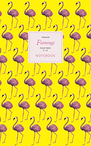Flamingo Notebook - Ruled Pages - 5x8 - Premium: (Yellow Edition) Fun notebook 96 ruled/lined pages (5x8 inches / 12.7x20.3cm / Junior Legal Pad / Nearly A5)
