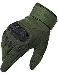 Kinnor Outdoor Gloves Full Finger Cycling Motorcycle Gloves for Motorcycle Climbing Shooting Driving Hiking Skiing Outdoor Sports Light Cycling with Velcro (Army Green,M size)