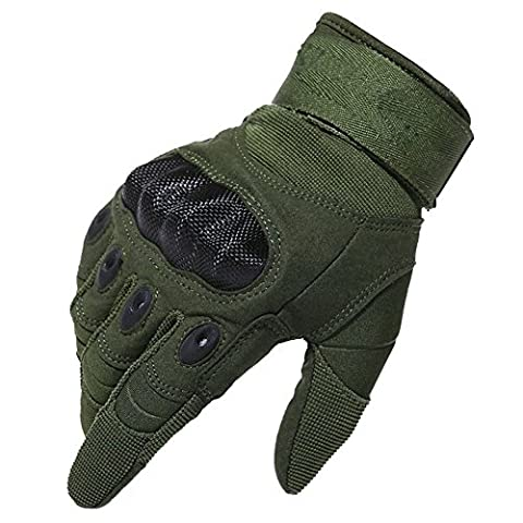 Kinnor Outdoor Gloves Full Finger Cycling Motorcycle Gloves for Motorcycle Climbing Shooting Driving Hiking Skiing Outdoor Sports Light Cycling with Velcro(Army Green,L size)