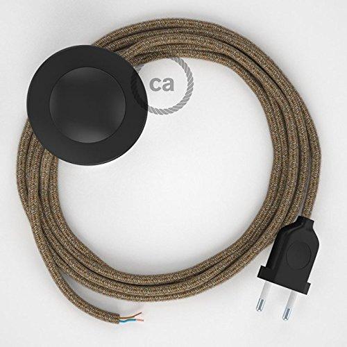 Cordon pour lampadaire, câble RS82 Coton et Lin Naturel Marron 3 m. Choisissez la couleur de la fiche et de l'interrupteur! - Noir