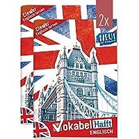 2 x Englisch Vokabelheft A5 2 Spalten | mit Sprüchen, Infos zu Kultur und Umgangssprache, Grammatik, Lernkontrollsystem, Stickern u.v.m