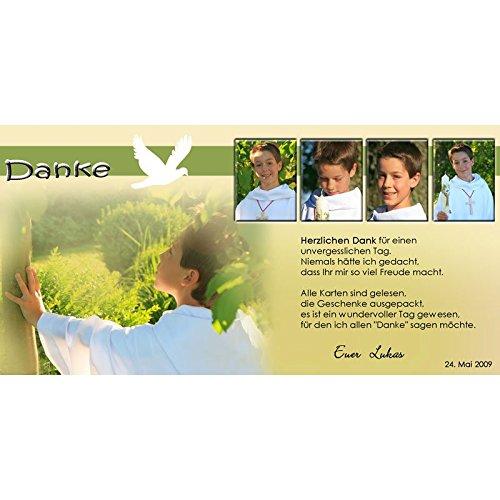 15 Individuelle Fotokarten K34 zur Kommunion, Konfirmation als Einladungs- oder Danksagungskarte im Format 10x20 cm inkl. hochwertigem farbigen Umschlag