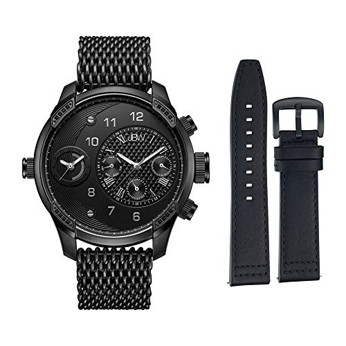 JBW Men's G3 World Traveler Set 0.16 ctw Diamond Mesh Bracelet Watch - J6355-SetC