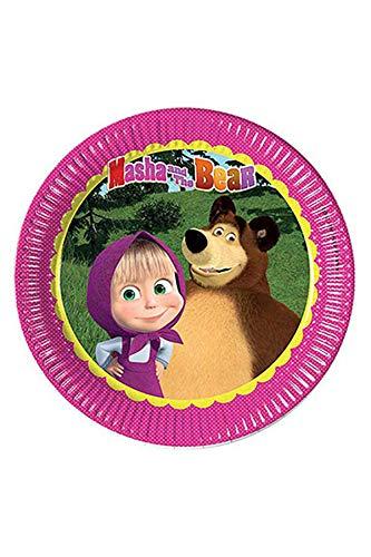 Procos 86511 Partygeschirr Masha und der Bär, Teller, One Size Bären-teller