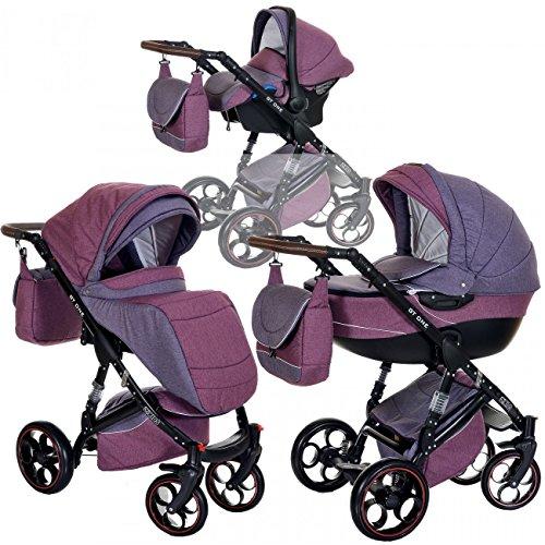 Kombi Kinderwagen 3in1 Baby 0-36 Monate Komplett Set GT one   Luftreifen Komfort Pannenfrei Garantie   Lila Pink