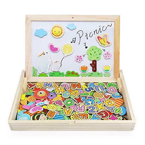 165 Piezas Pizarra Magnética Infantil Puzzles Rompecabezas Magnética Madera - Dibujo de...