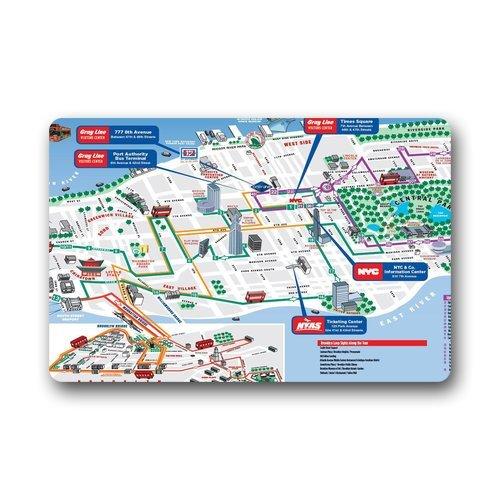 Haltbares hitzebeständig Vlies TOP Aufhängen gezogenen Karte von New York Fußmatte Größe 45,7cm (L) X 76,2cm (W), über 46cm (L) x76cm (W), Garten-& Home im Innenbereich rutschfest Tür Fußmatte