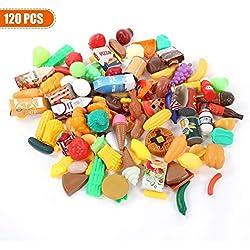 Dilwe Kochen Lebensmittel Pretend Play 120/125 Stücke Kuchen Gemüse Obst Trinken Lot Lebensmittel Spielzeug Home Küche Spielzeug für Kinder Kinder Pädagogisches Spielzeug Geschenk Set( 120 Stück)