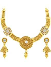 Sukkhi Sleek Jalebi & Invisible Setting Gold Plated American Diamond Necklace Set For Women