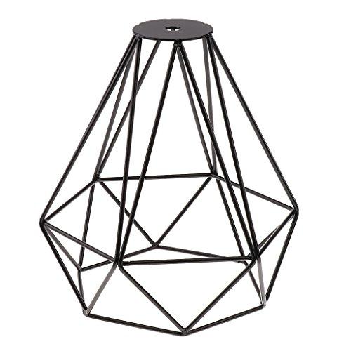MagiDeal Vintage Metall Diamant Form Anhänger Deckenleuchte Lampe Käfig Lampenschirm Dekor - Schwarz -