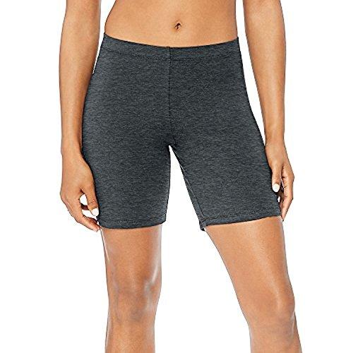 Hanes by Women's Stretch Jersey Bike Shorts_Charcoal Heather_2XL