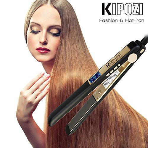 Plancha Pelo Profesional de KIPOZI,  hasta 230ºC,  recubrimiento de titanio,  perfecta para alisar,  crear ondas o rizos,  Doble Voltaje (Negro Mate)