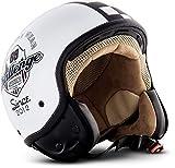 SOXON SP-301 Challenger Motorrad-Helm Roller-Helm Jet-Helm Bobber Scooter-Helm Pilot Cruiser Vintage Mofa Chopper Helmet Biker Vespa-Helm Retro, ECE zertifiziert, inkl. Stofftragetasche, Weiß (Challenger), S (55-56cm)