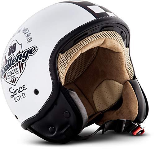 Soxon SP-301 'Challenger' · Jet-Helm · Motorrad-Helm Roller-Helm Scooter-Helm Bobber Mofa-Helm Chopper Retro Cruiser Vintage Pilot Biker Helmet Brille · ECE Schnellverschluss Tasche L (59-60cm)