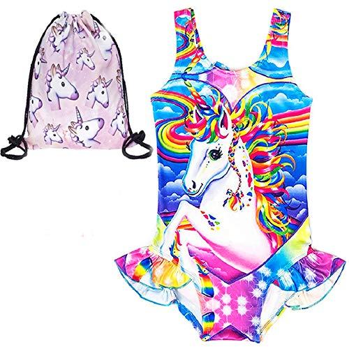 LX-Top Niña Traje de baño Unicornio Ruffle Swimwear Traje de baño de una Pieza más cómodo