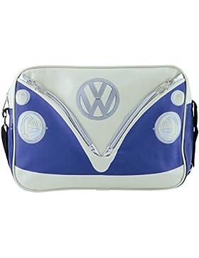 VW Collection by BRISA Schultertasche Umhängetasche mit VW Bulli T1 Motiv - Cremeweiß/Blau
