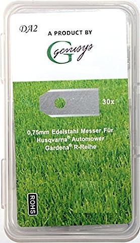 30x Ersatz Messer Klingen für Husqvarna Automower / Gardena Mähroboter (longlife | 0,75 mm | 3 g) + 30x ELOXIERTE Schrauben in der NEUEN wiederverschließbaren Hard-Box