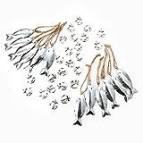 36 Teile Set maritime Deko: 12 silber farbene FISCHE Anhänger mit Schnur zum Aufhängen + 24 Mini Anker: Tischschmuck Kommunion Hochzeit Symbole Zierstreu Streudeko Streuteile Anhängsel give-away