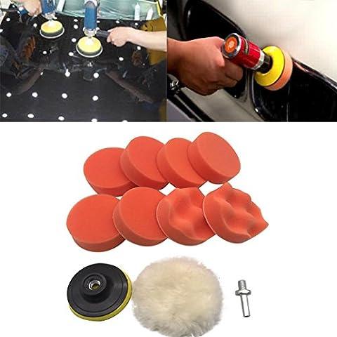 Gaddrt 10pcs 3 pouces Kit de roue auto voiture avec adaptateur de forage pour la voiture de polissage et de polissage