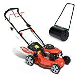 BMC Austin MiniMower 16″ 3HP 99cc Self Propelled Recoil Start 4 Stroke Petrol Lawn Mower with 7 Cutting Heights, Single Lever Height Adjustment, 45 Litre Collection Bag & Drive Speed Control & Powerplus 60 Litre Garden Roller With 315mm Diameter Drum Which Can Be Filled With Water Or Sand