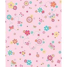 Dandino Colorido Papel de Flores, Corazones y Mariposas, Rosa