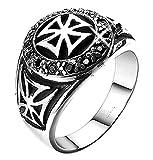 Inception Pro Infinite Crcmlt - Anillo con Cruces y templarios Medievales de Piedra roja - Idea de Regalo (ES 16)