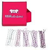HAARallerliebst Bobby Pins Haarklammern (30 Stück | weiss rosa pink lila | 5cm) inkl. Schachtel zur Aufbewahrung (Schachtelfarbe: pink)