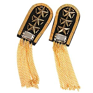 1 Paar Militär Sterne Goldenen Quaste Gliederkette Epaulet Schulterklappen Badge