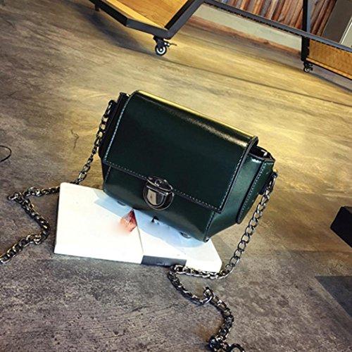 Moda Donna Artificiale In Pelle Spalla Borsa Catena Strap Messenger Borse Fibbia In Metallo di Kangrunmy Verde
