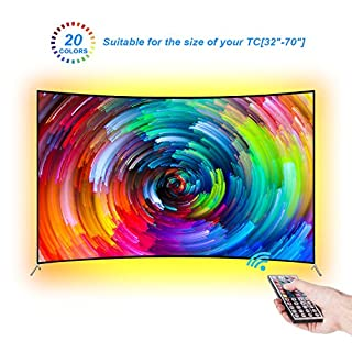 LEBRIGHT LED TV Backlight 118inch(300cm) Bias Lighting Behind 60 65 70 Inch HDTV USB LED Light Strip TV Wall Mount Movie Theater Decor Mood Lights, RF Remote, 20 Colors