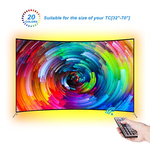 LEBRIGHT Led TV Tira 300cm Bias Iluminación Behind 60 65 70 pulgadas HDTV USB LED Tira de luz TV Montaje en pared Cine Decoración de cine Luces de estado de ánimo, RF Remote, 20 colores