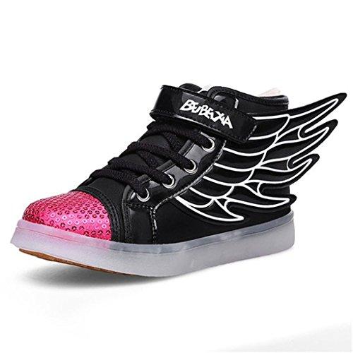 Dogeek scarpe led bambino scarpe con luci luminosi sneakers con luce nella suola bright tennis scarpe bambina ali usb 7 colori lampeggiante trainners