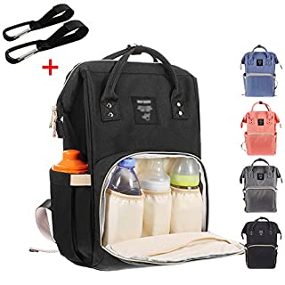 Baby Wickelrucksack mit 2 Kinderwagen-haken, Multifunktionale Wasserdichte Wickeltasche mit große Kapazität und warme Tasche, Babytasche für Reise (Schwarz)