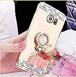 COTDINFOR Galaxy Note 4 Hülle Bling Glitzer Diamant Spiegel Schutzhülle Kristall Strass Ständer Halter Stoßdämpfend TPU Silikon Handy Crystal Etui für Samsung Note 4 Ring Mirror Gold.