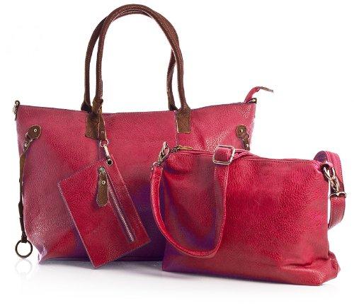 Big Handbag Shop donna top con apertura zip 3in 1Borsa Shopper Borsa con tracolla lunga, e portare borsa media Red