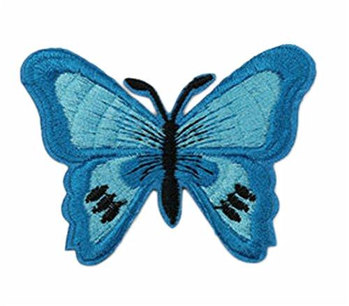 Oyfel bestickt, zum Aufbügeln, Denim, für Jacken, Kleidung, Hüte, Rucksack, verschiedene Muster erhältlich blau