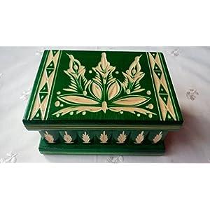 Neu Grün Magie Rätsel Puzzle Geheimfach Schmuckkasten schön handwerk handarbeit Holz schatulle Zauber kästen