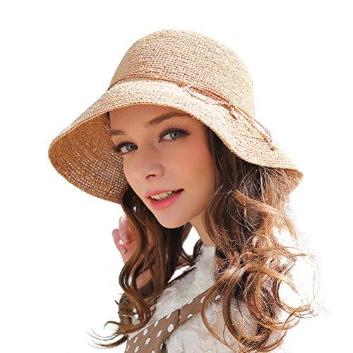 RIONA Damen Sommer Handgewebte Faltbare Wide Brim Fischer 100{b87b1560ec6392f4eb29c1aae74a309774578941750c08adf6a38e4a55dabdf5} Bast Straw Sonnenhut einheitsgröße beige