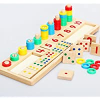 hibote I primi giocattoli educativi Montessori Materiali regalo bambino conte di legno e numeri corrispondono, blocchi matematici Shape Sorter manopola Puzzle apprendimento per i bambini Bambini (16.92 X 5.51 X 1.177 pollici) - Regalo Materiale