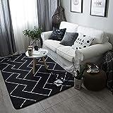 Bvc Teppich, Wohnzimmer Teppiche Schlafzimmer Fußmatten - Europäischen Stil, Schwarz (Gitter),95×95Cm