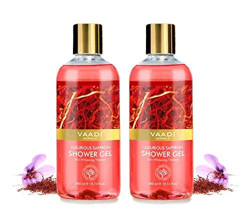Duschgel - sulfatfrei - Kräuter-Körperwäsche für Männer und Frauen - Anti-Aging - Hautaufhellung - 300 ml - Tiefenreinigung - Feuchtigkeitsspendend - Vaadi Herbals (Luxuriöser Safran) 2 Flaschen