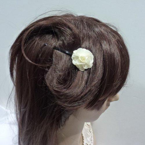 rougecaramel - Accessoires cheveux - Mini pince fleur pour mariage ou cérémonies - ivoire