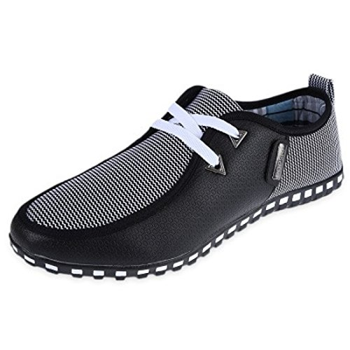 Men's Moccasins Breathable Lace Up Casual Shoes Black