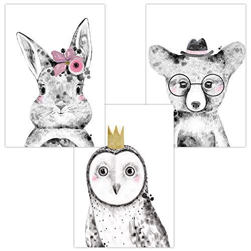 Wandbilder 3er Set für Babyzimmer Deko Poster | Dekoration Kinderzimmer | Kunstdruck DIN A4 für Junge und Mädchen Waldtiere (Hase Eule Bär Brille)