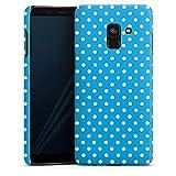DeinDesign Hülle Premium Case Handyhülle kompatibel mit Samsung Galaxy A8 Duos 2018 Dots Blue Blau